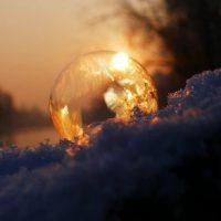 winter sunrise through crystal