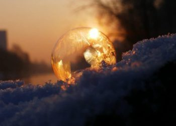 winter sunrise through crystal
